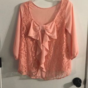 Pink sheer top with lace detail